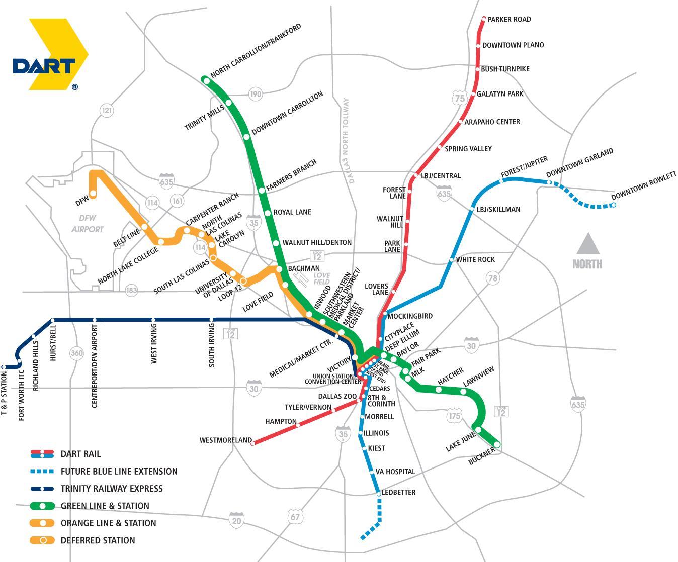 Dallas transit map - Dallas area rapid transit-Karte (Texas - USA) on