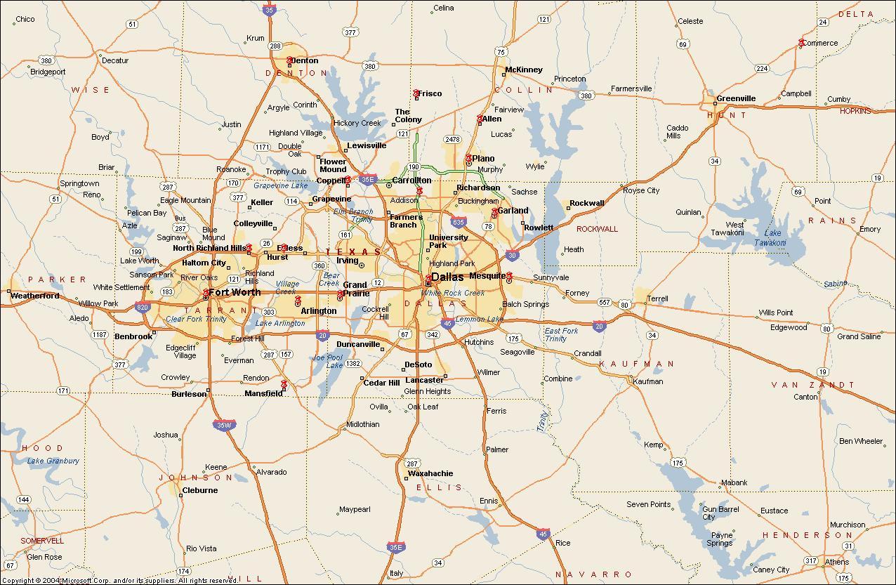 DFW metroplex anzeigen - Dallas-Fort Worth metroplex Karte ...