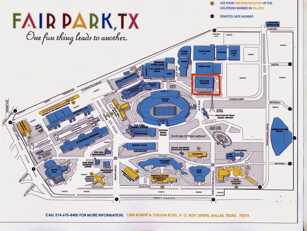 Fair Park, Dallas Karte - Fair Park Parken map (Texas - USA)