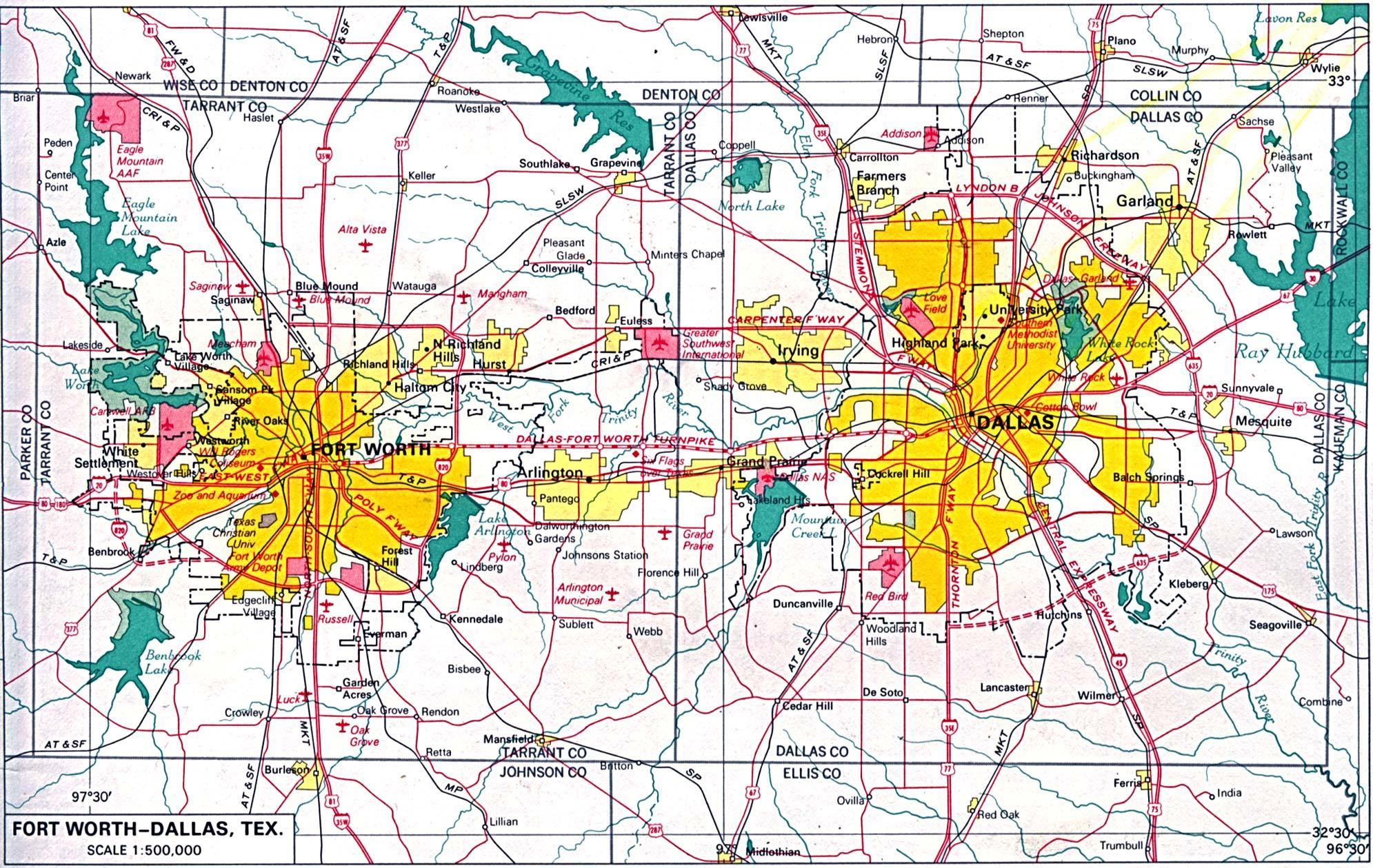 Im Norden von Dallas-map - Karte von Nord-Dallas (Texas - USA) on