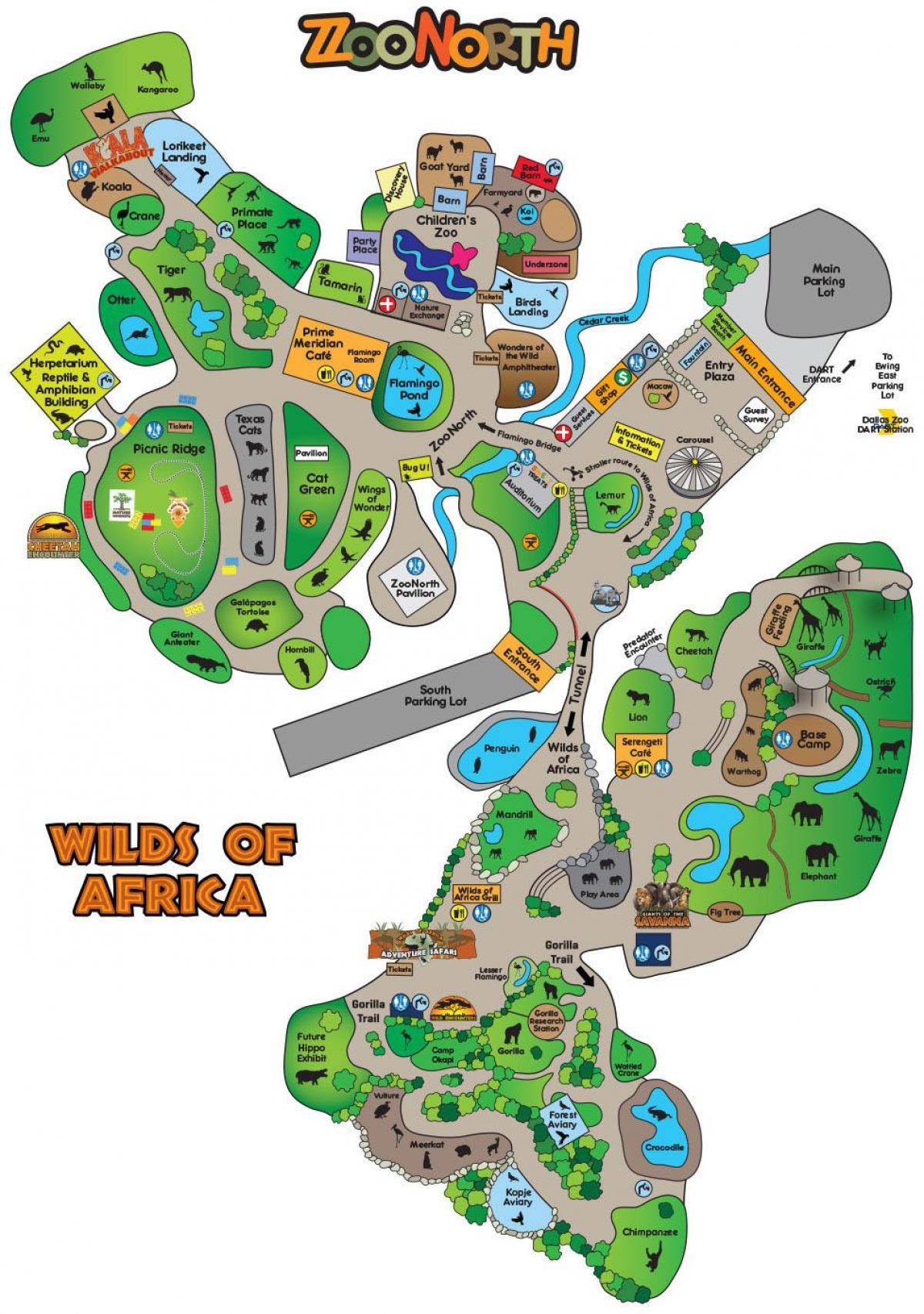 Dallas zoomap Karte von Dallas zoo Texas USA