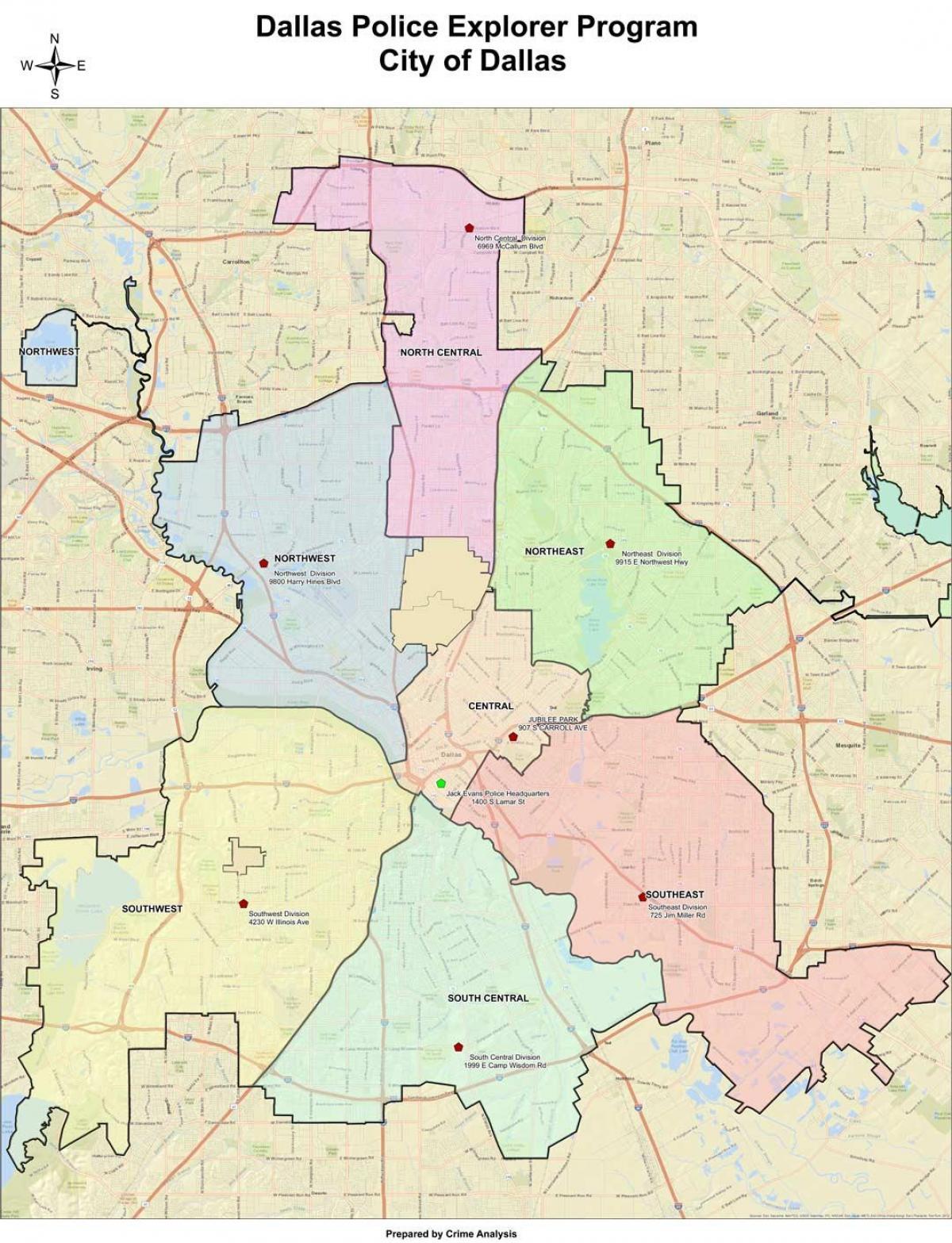 Karte von Dallas - Dallas anzeigen (Texas - USA) on